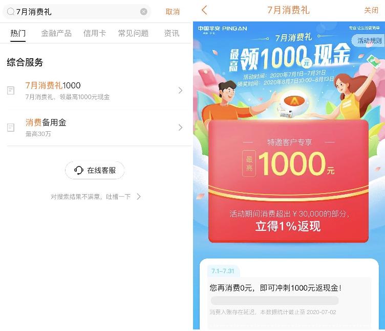 平安信用卡7月消费返现千元